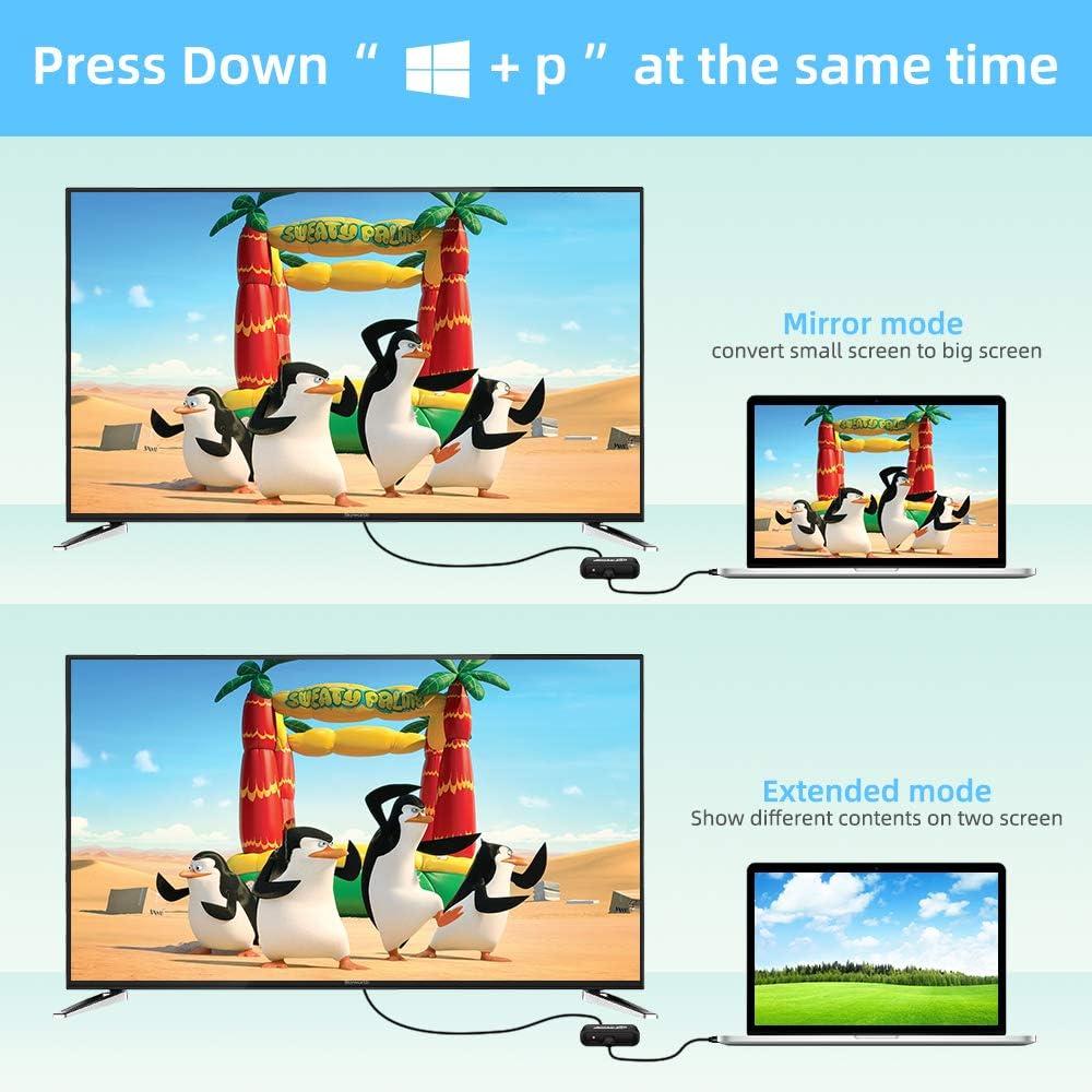 Noir NO Mac//Linux//Vista//Chrome Adaptateur USB 3.0 vers HDMI et VGA convertisseur USB vers VGA 1080P Audio Prend en Charge HDMI VGA Sortie de synchronisation pour Windows 7//8//10