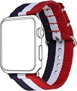 Bandmax Nylon Band Compatible For Apple Watch 38MM/40MM,France Flag Nylon Fabrics Strap Replacement Accessories For iWatch Series 5/4/3/2/1 mix Stainless Steel Classic Buckle(Flag of France)