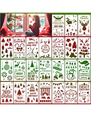 HOWAF 24 Pieces Christmas Stencils Template Reusable Plastic Stencils Art Craft Stencil for Drawing Painting Spraying Window Glass Door Car Body Wood Journaling Scrapbook Xmas DIY Decoration