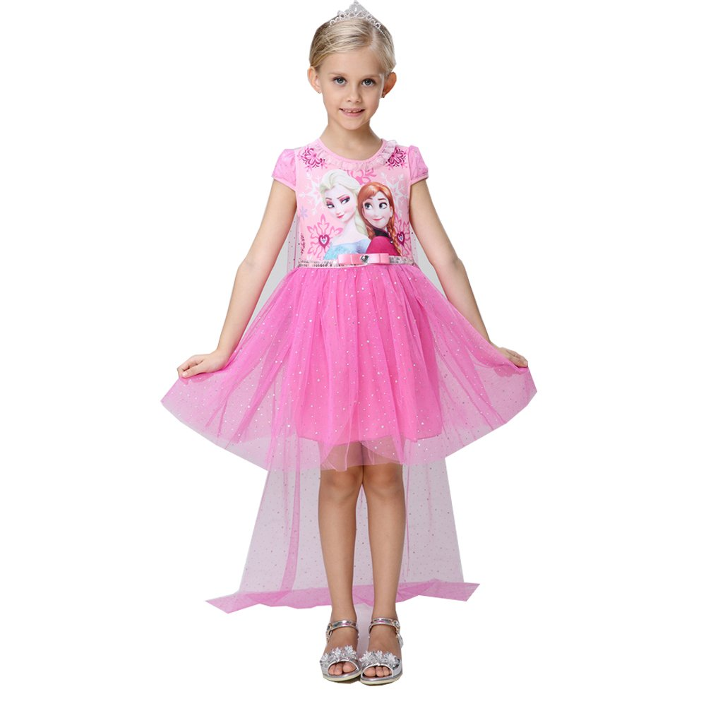 e-super Snow Queen Anna Elsa Princess Girls' Short Sleeve Lace Tulle Flower Party Dress Costume Cape (140cm (5-6 Years Old), Rose)