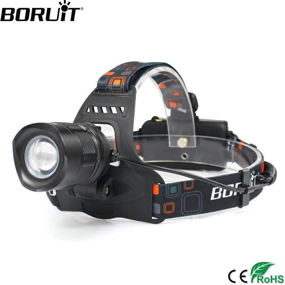 BORUIT 3000LM XML T6 LED Headlamp Rechargeable Aluminum Zoom Headlight USB Output POWER BANK Head Lamp Torch Lantern White Light