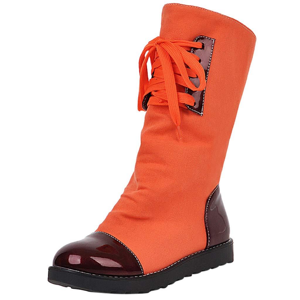 Kauneus♕ Canvas Boots Women Lace-up Mid Calf Boots Spliced Color Round Toe Espadrille Boots Outdoor Leisure Shoes Orange by Kauneus Fashion Shoes