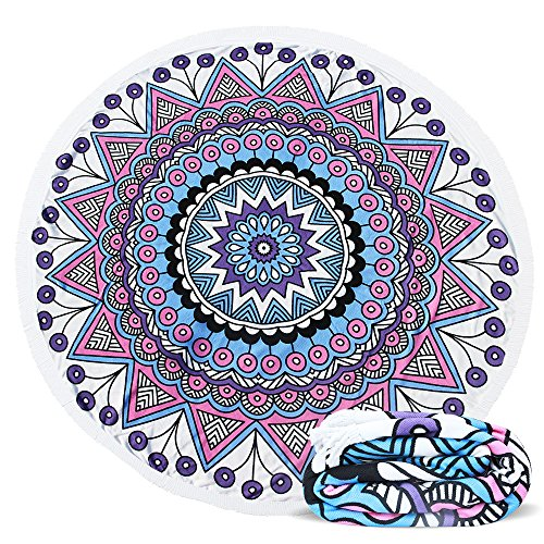 ELECCTV Round Beach Towel, Microfiber Round Beach Blanket for Yoga Mat Picnic Blanket Baby Pet Playing Mat with Fringe Tassels