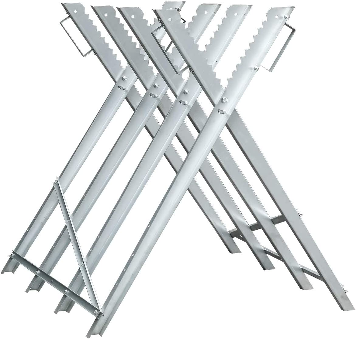 Hengda Caballete para serrar leña Soporte Para Cortar leña Soportes Dentados Ajustble y Plegable Banco corte con asas plegable Capacidad de carga máx 150kg