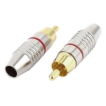 2 piezas Metal RCA macho conector de Audio Cable Coaxial sin soldadura: Amazon.es: Electrónica