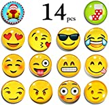 LimBridge 14-Pack Refrigerator Magnets, Emoji Magnets 3D Funny Cute School Lockers Accessories Set