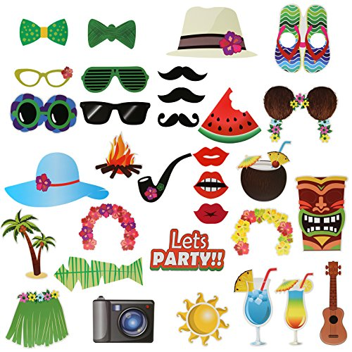 Kesoto 32PCS Luau Hawaii Photo Booth Props for Holiday, Beach Pool Party, Summer Party Decoration Supplies Green -