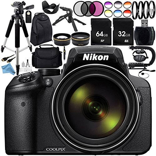 Genuine Nikon Camera Lens (Nikon COOLPIX P900 Digital Camera with 83x Optical Zoom and Built-In Wi-Fi (Black) + Ultimate 96GB Accessory Kit. Includes 2X SanDisk Ultra Memory Cards + Wide Angle & Telephoto Lenses + MUCH MORE)