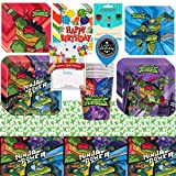 Rise of The Teenage Mutant Ninja Turtles Birthday Party Supplies Bundle of Cups Plates Napkins Balloon Table Cover Happy Birthday Card and Treat Bags Bundle