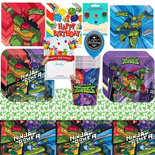 Rise of The Teenage Mutant Ninja Turtles Birthday Party Supplies Bundle of Cups Plates Napkins Balloon Table Cover Happy Birthday Card and Treat Bags -