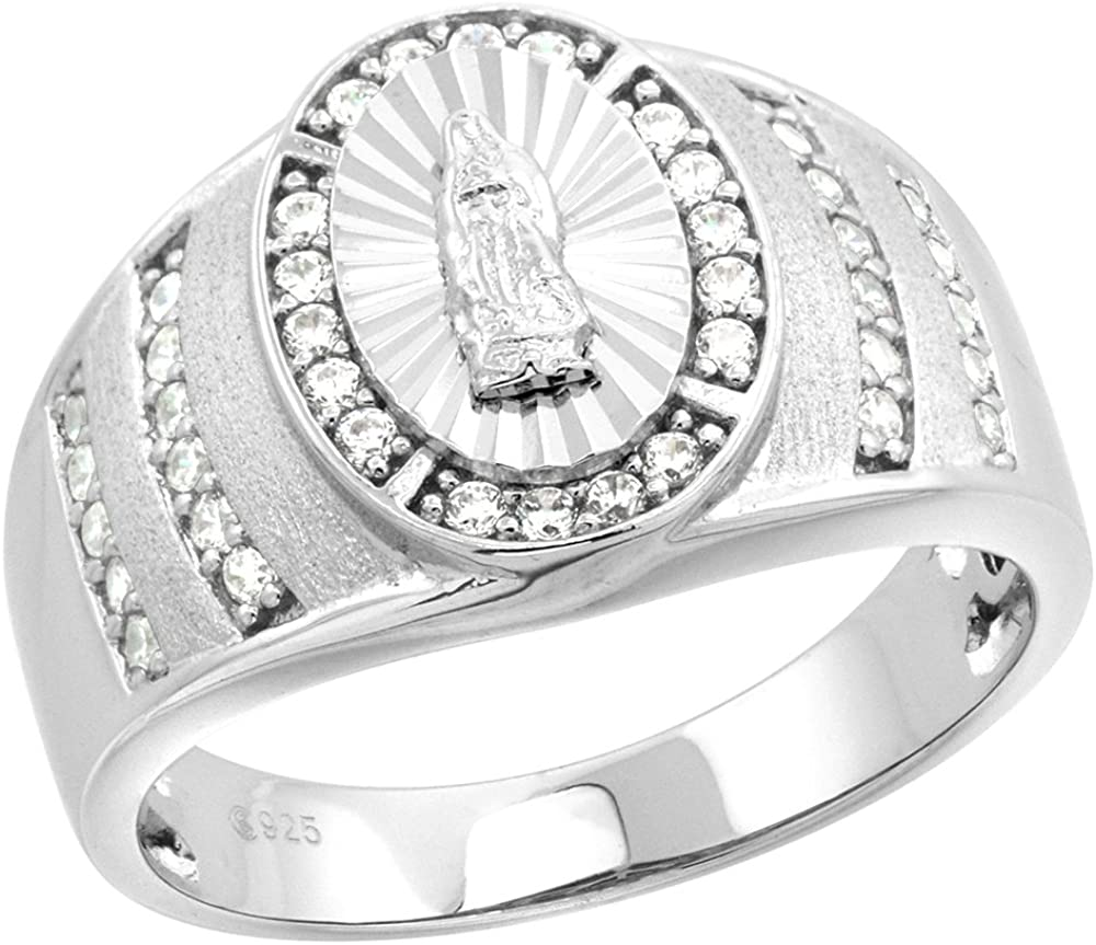 Sterling Silver CZ Guadalupe Ring for Men Oval Diamond Cut Halo 9/16 inch sizes 8-14