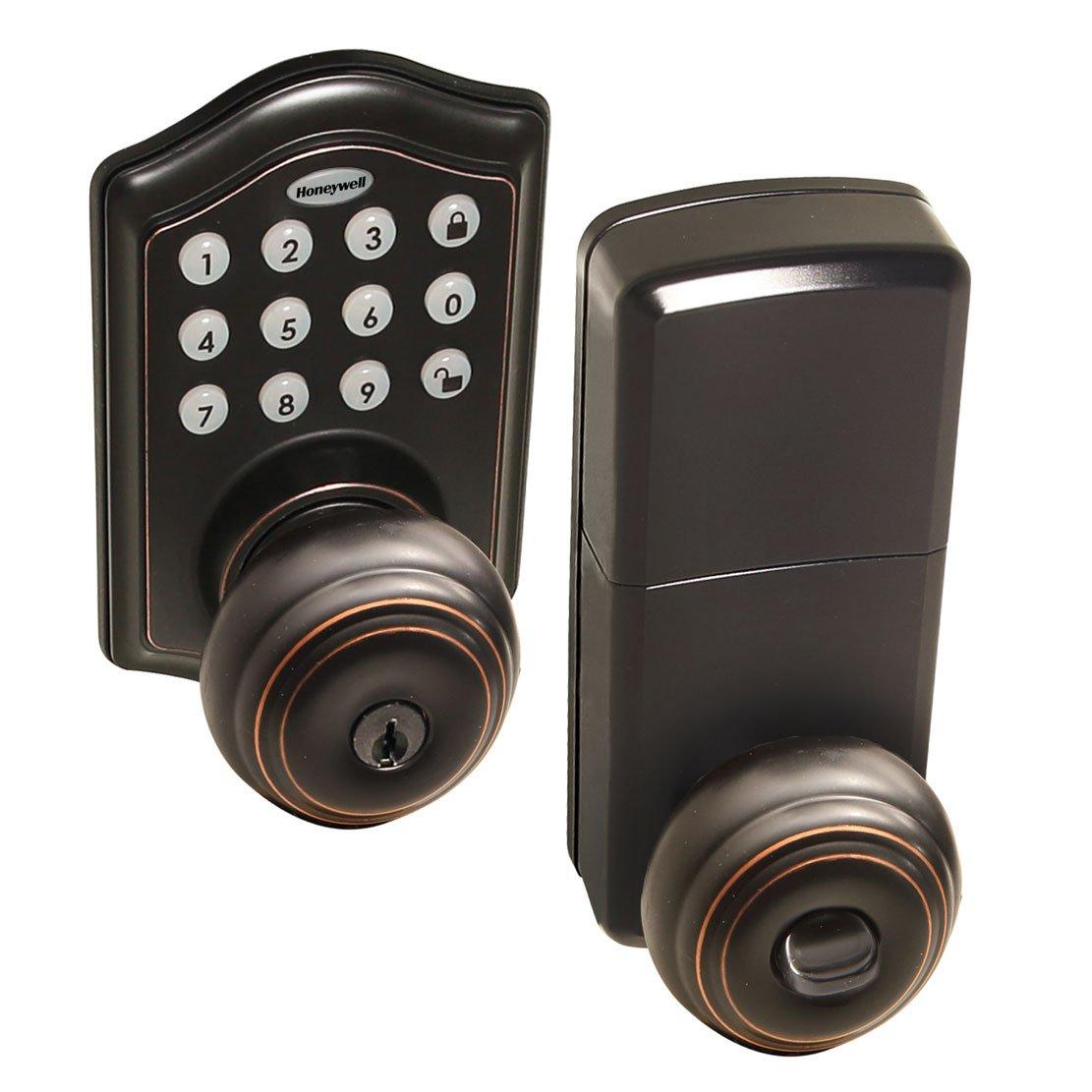 Honeywell Safes & Door Locks - 8732401 Electronic Entry Knob Door Lock, Oil Rubbed Bronze