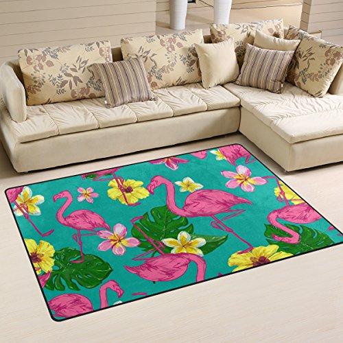 Sunlome Flamingo Bird Tropical Flowers Green Area Rug Rugs Non-Slip Indoor Outdoor Floor Mat Doormats for Home Decor 60 x 39 inches