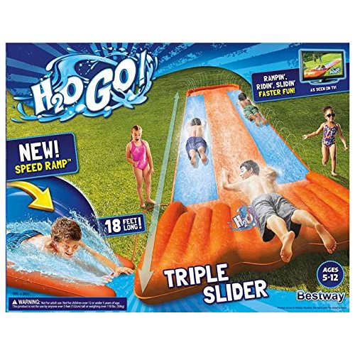 Inflatable Triple Water Slide Outdoor Kids Play Backyard Pool Big Splash Spit (18' Game Go)