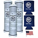 34370 - 32-250-125-975, CBC-10, PWCB10S, EP-10, WHEF-WHWC and 34370 Compatible Water Filter Cartridges by KleenWater (3) with Genuine KleenWater Can Holders (2)