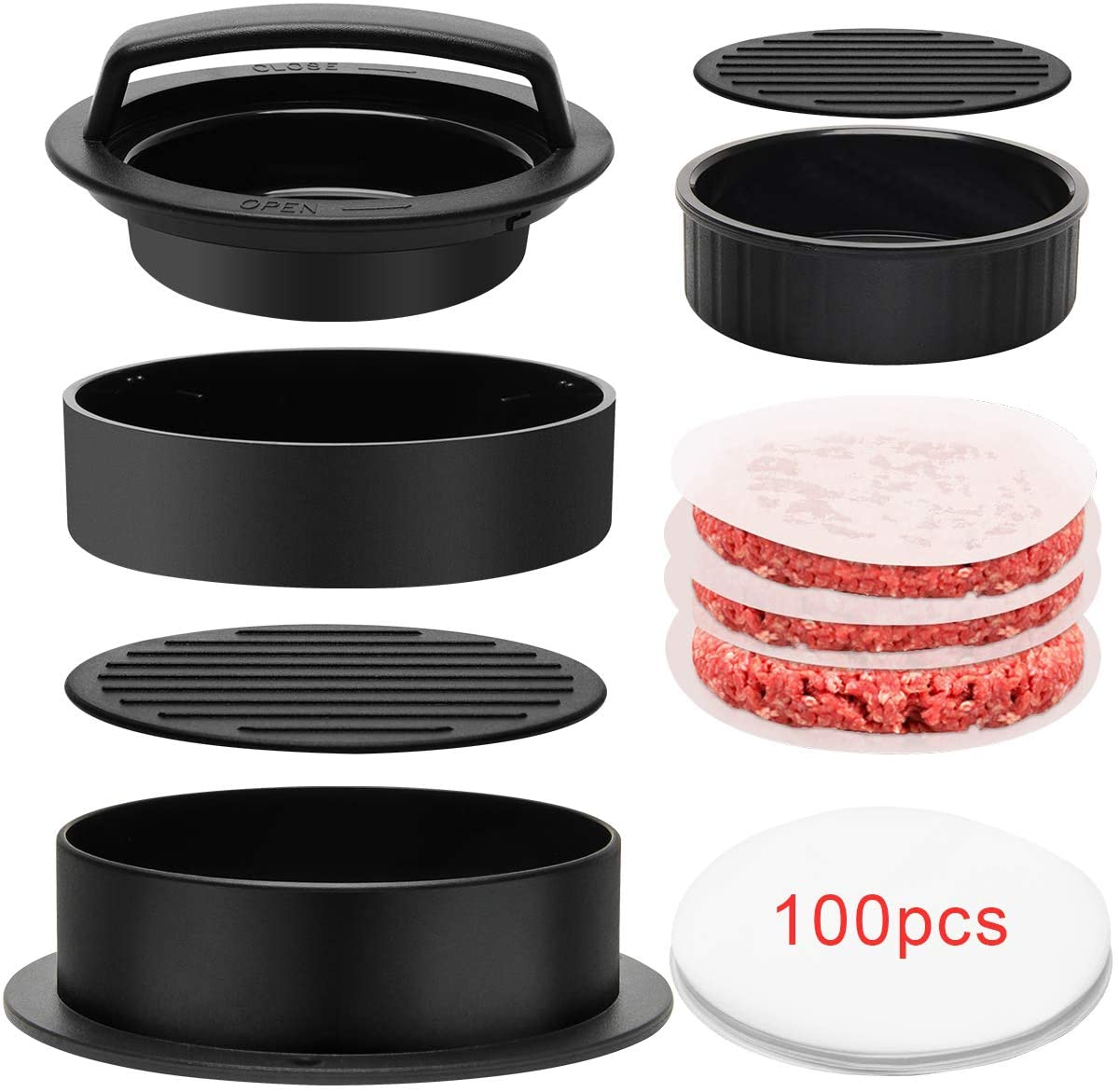 Luxiv 3 in 1 Burger Press, Hamburger Patty Maker Stuffed Burgers Press with 100p Burger Paper for BBQ Non-Stick Sliders Beef Burger Press (Black)