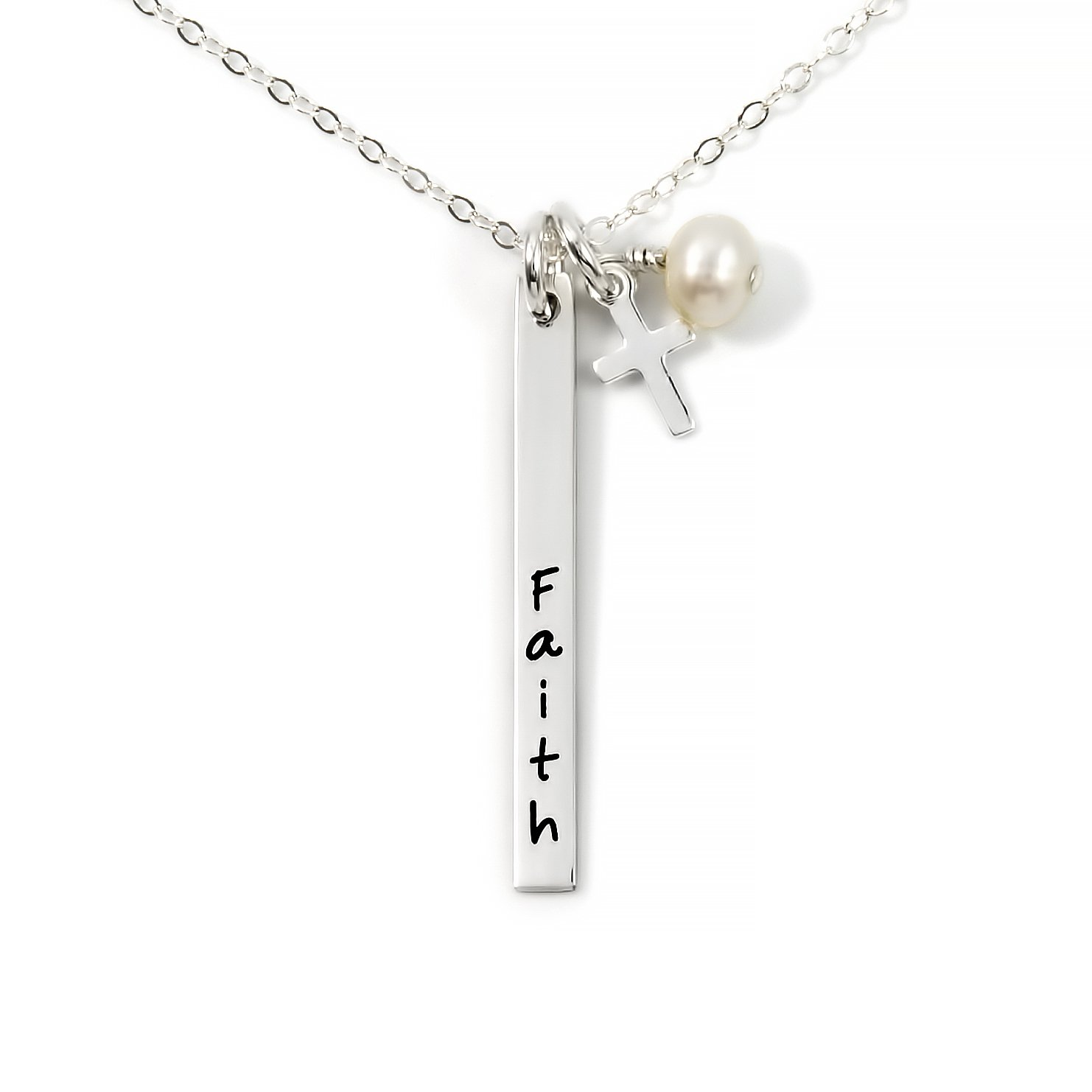 Skinny Name Bar with Mini Cross and Swarovski Pearl Personalized Name Necklace. Customize 2 Sterling Silver Rectangular Pendant Necklace. Includes a 925 Cross Charm and 925 Chain of your choice