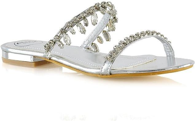 ESSEX GLAM Womens Flat Sandals Ladies