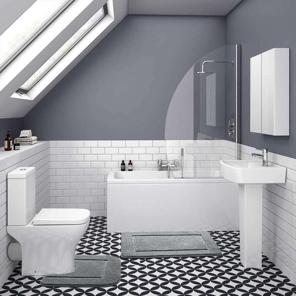 YJ.GWL Bath Mat Set 2 Pieces Microfiber Toilet Mat Set Non Slip TPR Backing Bathroom Pedestal Mat Dark Blue