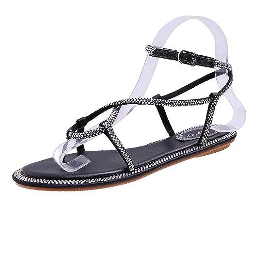 94d21599a Women s Ankle Strap Flat Sandals Bohemian Beach Thong Rhinestone Flip Flops  Summer Pumps Dress Shoes (