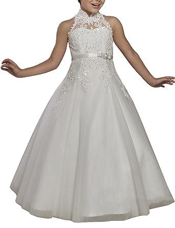 6ed2cea0ab Mulanbridal Halter Flower Girl Dress for Wedding Appliqued First Communion  Gown Ivory Child-2