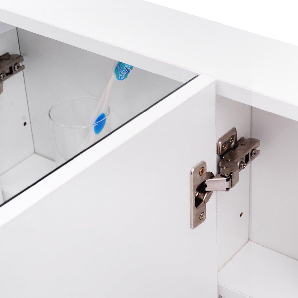 GOPLUS Armadietto da Bagno con 3 Ante a Specchio Appeso a Parete in Legno Bianco Minimalista 90x11x65cm