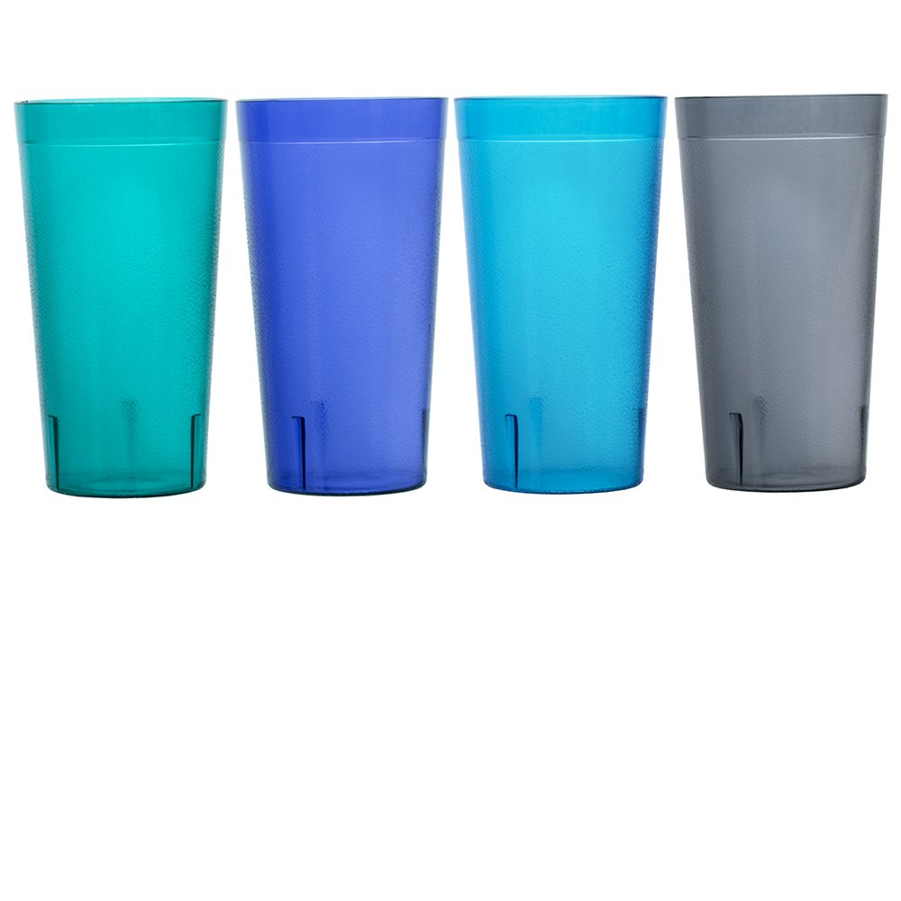 Cafe 20-ounce Break-Resistant Plastic Restaurant-Style Beverage Tumblers | Set of 16 in 4 Coastal Colors by US Acrylic (Image #7)