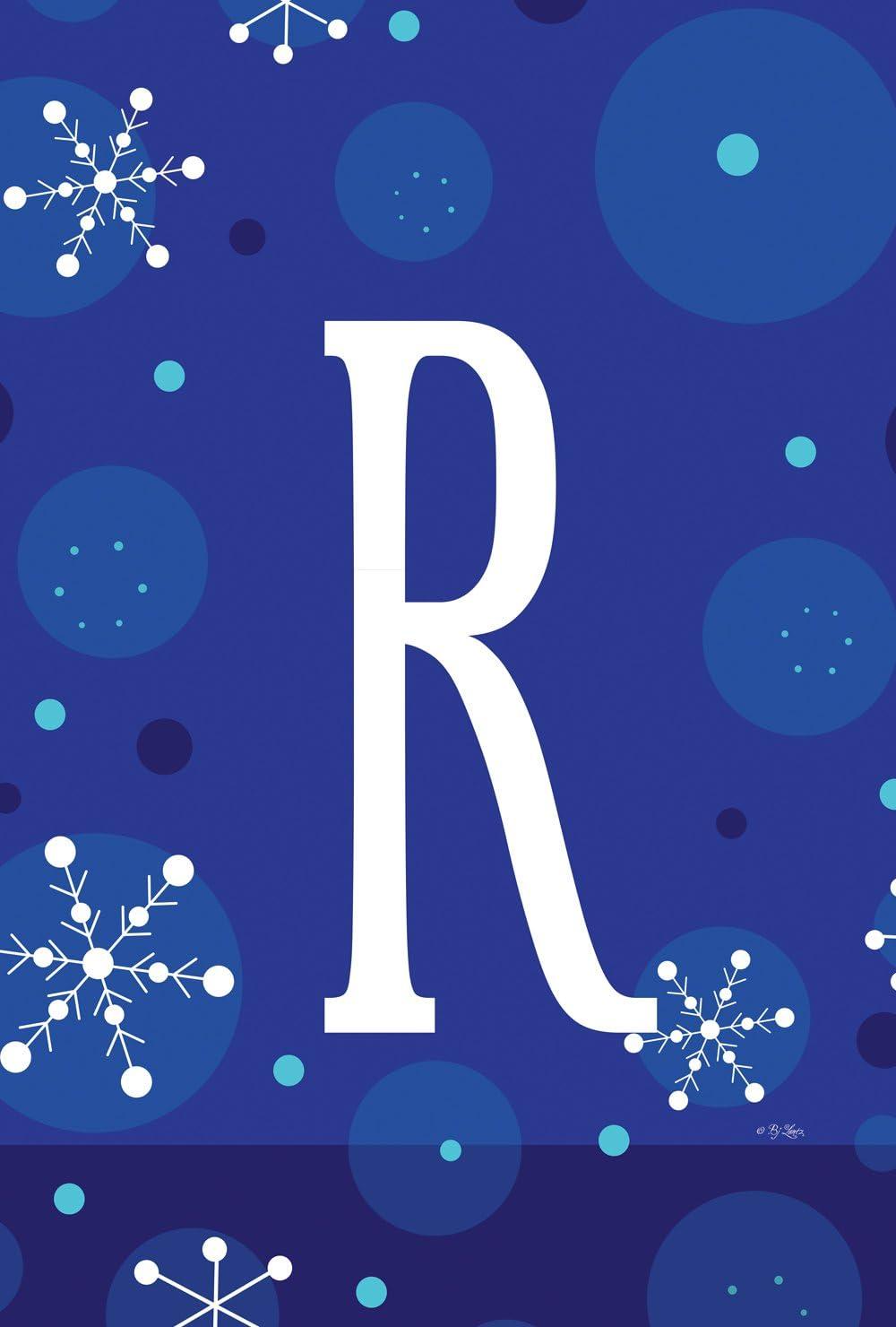 Toland Home Garden 1110185 Winter Snowflakes Monogram R 12.5 x 18 Inch Decorative, Garden Flag (12.5