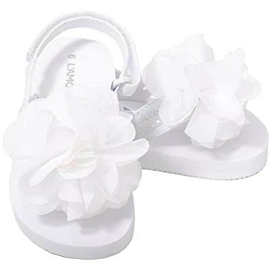 Amazon lamour toddler girls 9 white sequin strap flower flip lamour toddler girls 9 white sequin strap flower flip flop sandals mightylinksfo