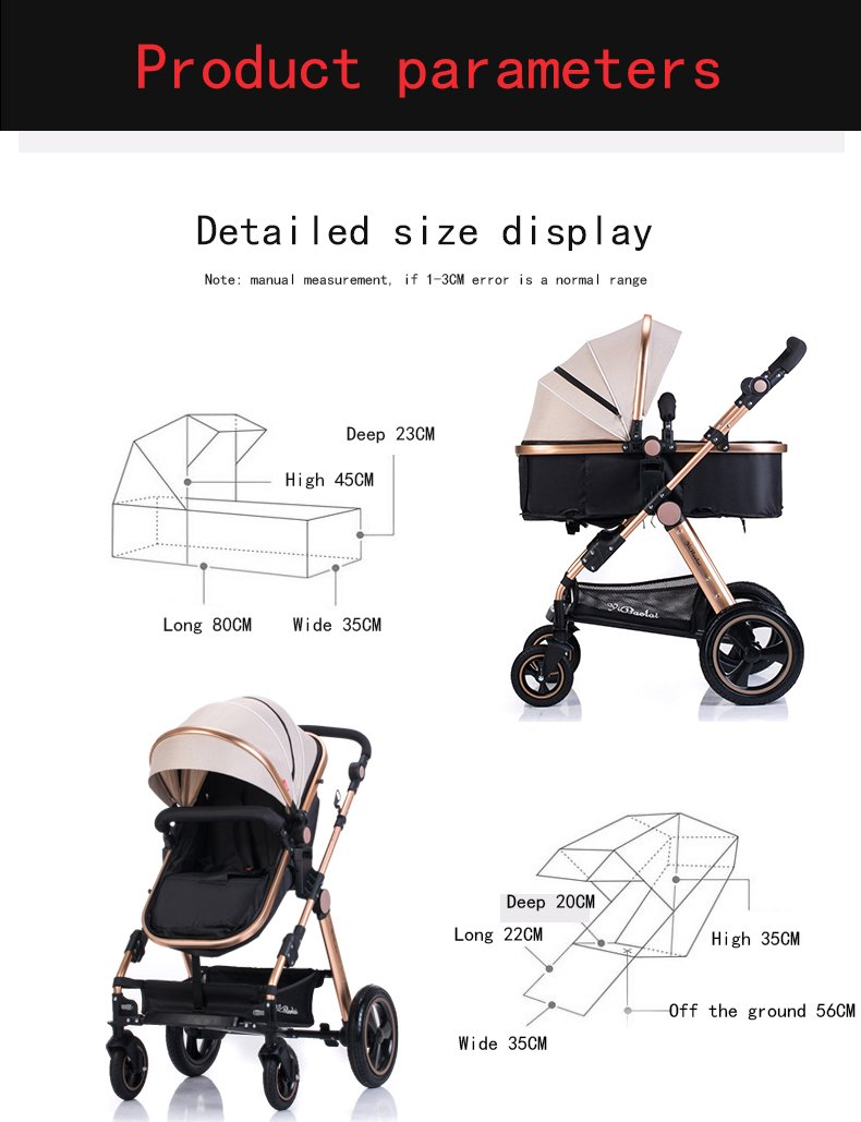 YBL Baby Stroller for Infant and Toddler City Select Folding Convertible Baby Carriage Luxury High View Anti-shock Infant Pram Stroller with Cup Holder and Rubber Four Wheels Newborn Doll carriage