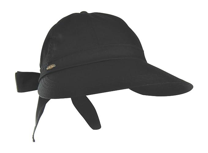 22b3ae9baa8605 Black Cotton Blend Visor Sun Hat w/ Bow Tie - SPF 50+ UV Protection Face  Saver at Amazon Women's Clothing store:
