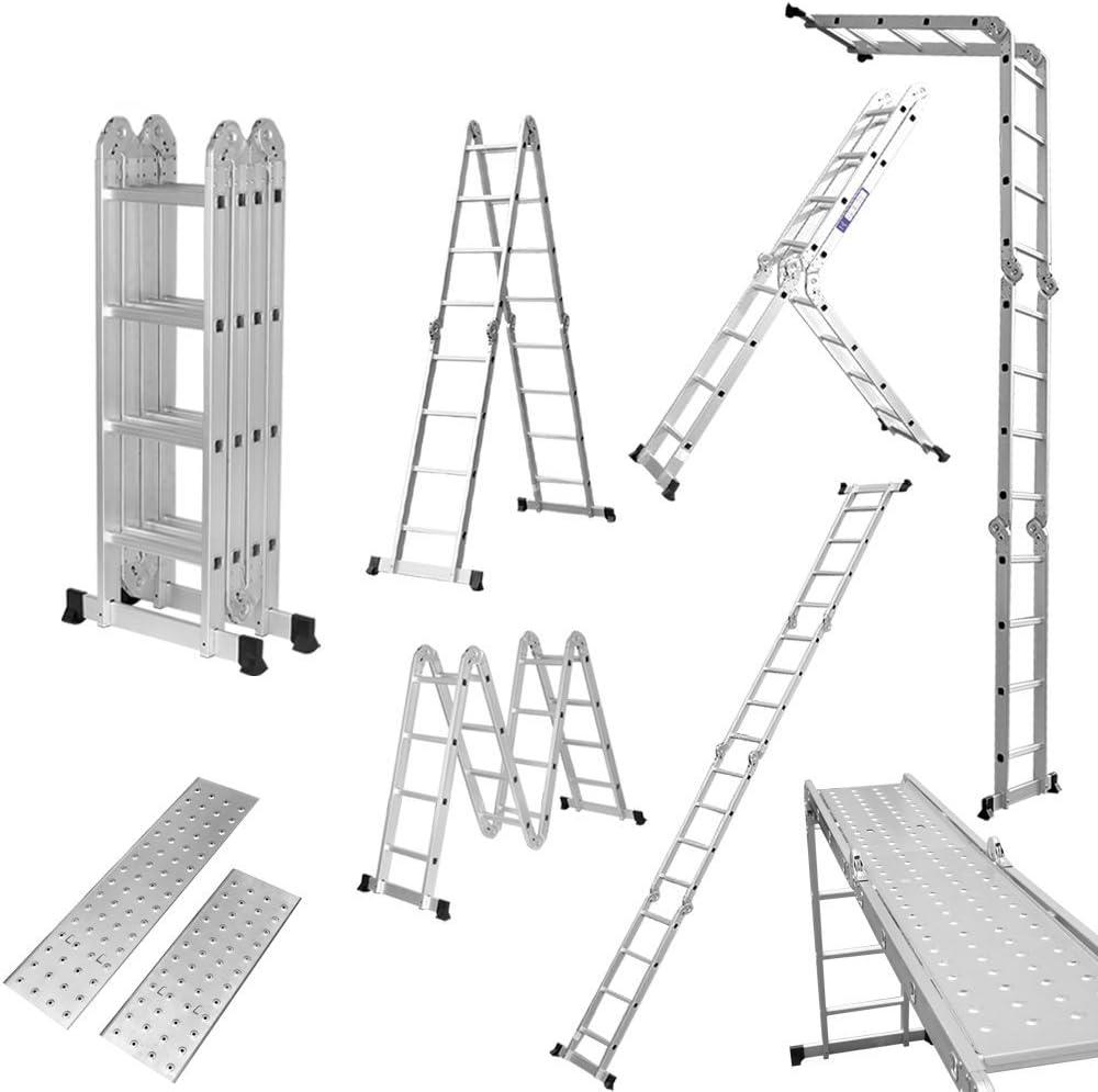 Finether-4.7M Escalera Plegable (15.4 FT, Multi-propósito Extensible, Buena Calidad, Mayor Seguridad, Aluminio) (Con Panel): Amazon.es: Bricolaje y herramientas
