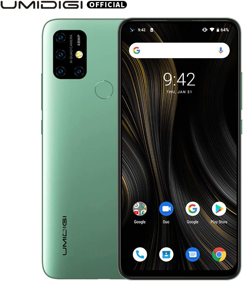 "UMIDIGI Power 3 6150mAh Monster Battery Unlock Cell Phone, 48MP Ultra Wide Macro Quad Camera, 6.53"" FHD+ Android 10 Mobile 4G+64GB Phone 2 + 1 Card Slots, 18W Fast Charging(Support Reverse), Green"