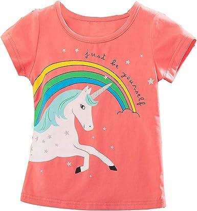 Camiseta de Unicornio Niña Algodón de Verano para Niños T-Shirt Manga Corta Impresión de Fiesta de Cumpleaños Unicorn para Niñas: Amazon.es: Ropa y accesorios