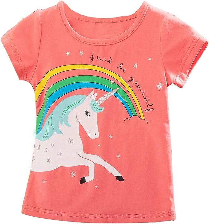 Camiseta de Unicornio Niña Algodón de Verano para Niños T-Shirt ...