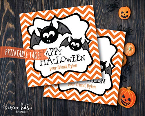 Moira Personalized Printable Halloween Bat Tags Happy Halloween Tags Printable Bat Labels Spooky Halloween Labels]()