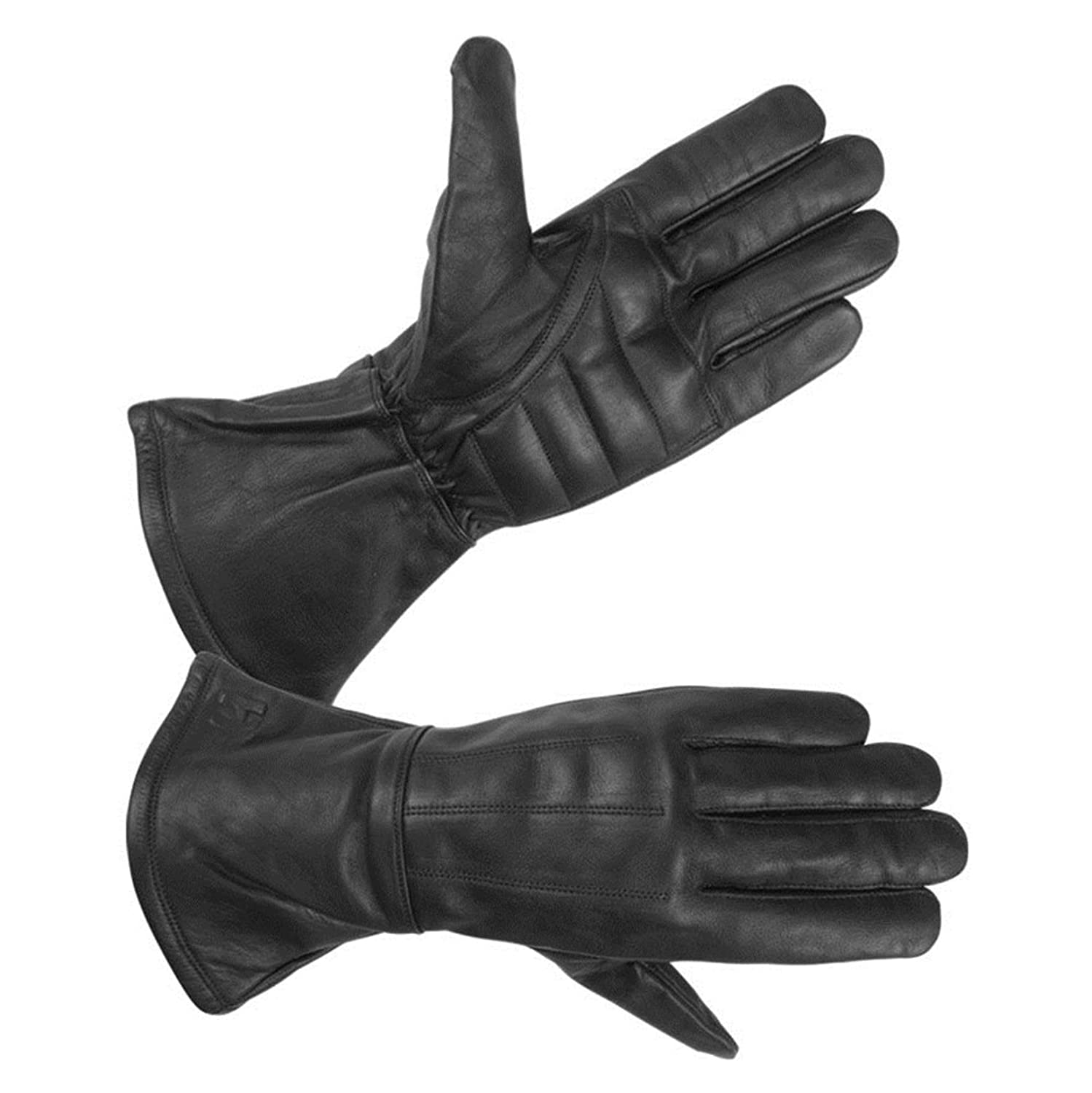 Leather gauntlet driving gloves - Cheap Men S Gauntlet Motorcycle Lined Water Resistant Leather Bike Riding Gloves