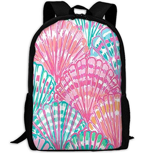 3D Watercolor Scallop Unisex Backpack Lightweight Laptop Bags Shoulder Bag School Bookbag Daypacks Light Simple Scallop