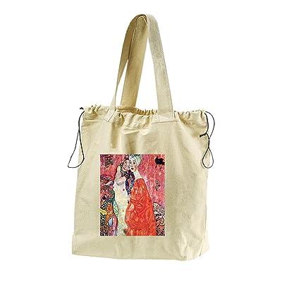 The Girlfriends (Klimt) Canvas Drawstring Beach Tote Bag