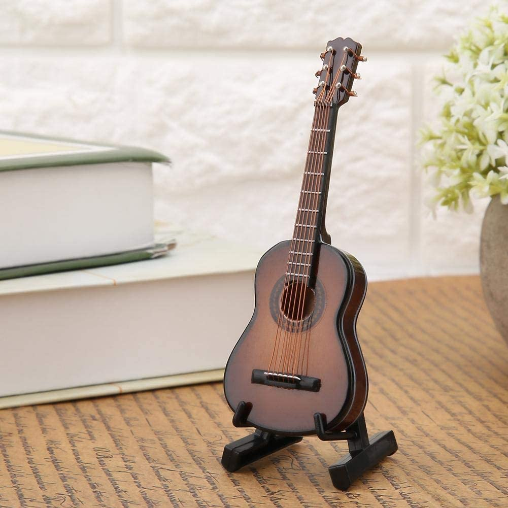 Regun Guitarra Decoración, 10cm Brown Miniatura de Madera Guitarra Modelo despliegue Musical Adornos Mini Guitarra Modelo Craft Decoración