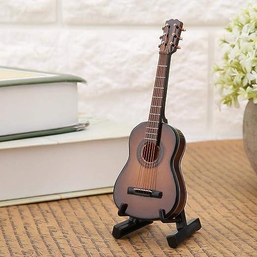 Regun Guitarra Decoración, 10cm Brown Miniatura de Madera Guitarra ...