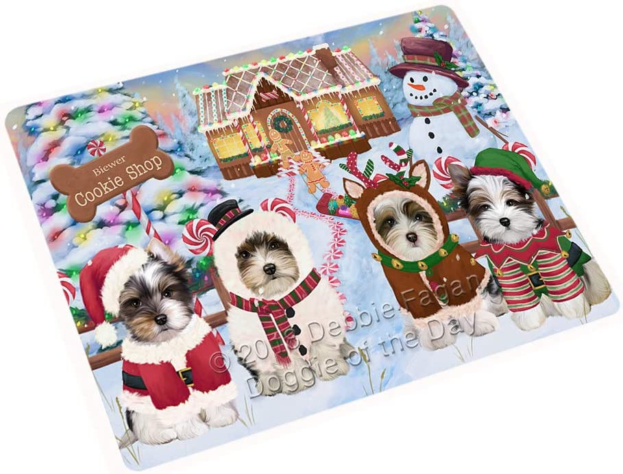 """Holiday Gingerbread Cookie Shop Biewer Terriers Dog Large Refrigerator/Dishwasher Magnet RMAG98916 (18"""" x 24"""")"""