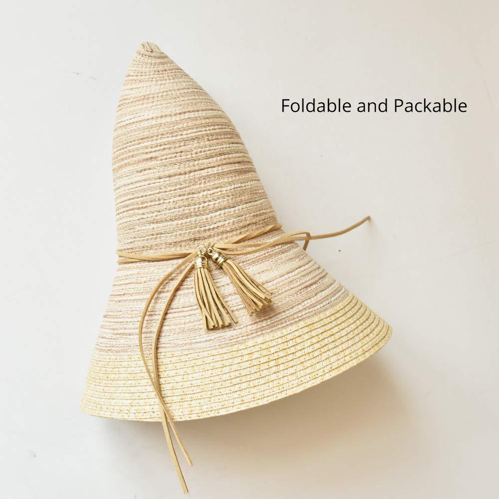 VIVICMW Womens Floppy Summer Beach Sun Hats Cotton Sun Protection Foldable Cap Bucket Wide Brim Hat Cotton Straw Hat