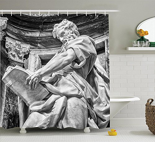 [Sculptures Decor Shower Curtain Set Statue of St. Matthew at the Basilica of St. John Lateran in Rome Cthedra with Pillars Bathroom Accessories] (Vintage Pin Up Girl Costume Ideas)