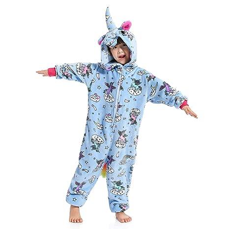 05a8f3d6429 WhiFan Franela con Capucha Pijama Unicornio Animal Pijama Entero Adulto  Niños Pijamas Unisexo Traje para Mujer