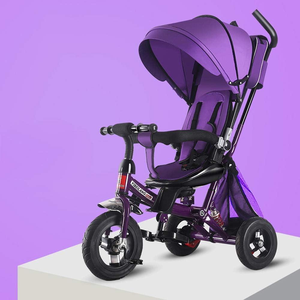 Moerc 4 en 1 Triciclo for niños Cochecito Plegable de 3 Ruedas de Bicicleta de Titanio Vacío Rueda de Bicicleta absorción de Choque con Bolsa de Almacenamiento Desmontable niños Triciclo for niños de