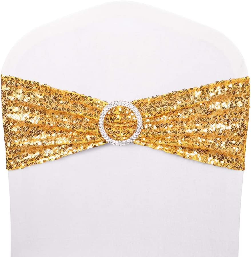 Desirable Life Pack of 10 Chair Sashes Sequin Stretchy Spandex Bands Decorative Bows One-Sided Sequins Decor for Romantic Wedding Party Home Chair Cover Sash Decorations - Gold
