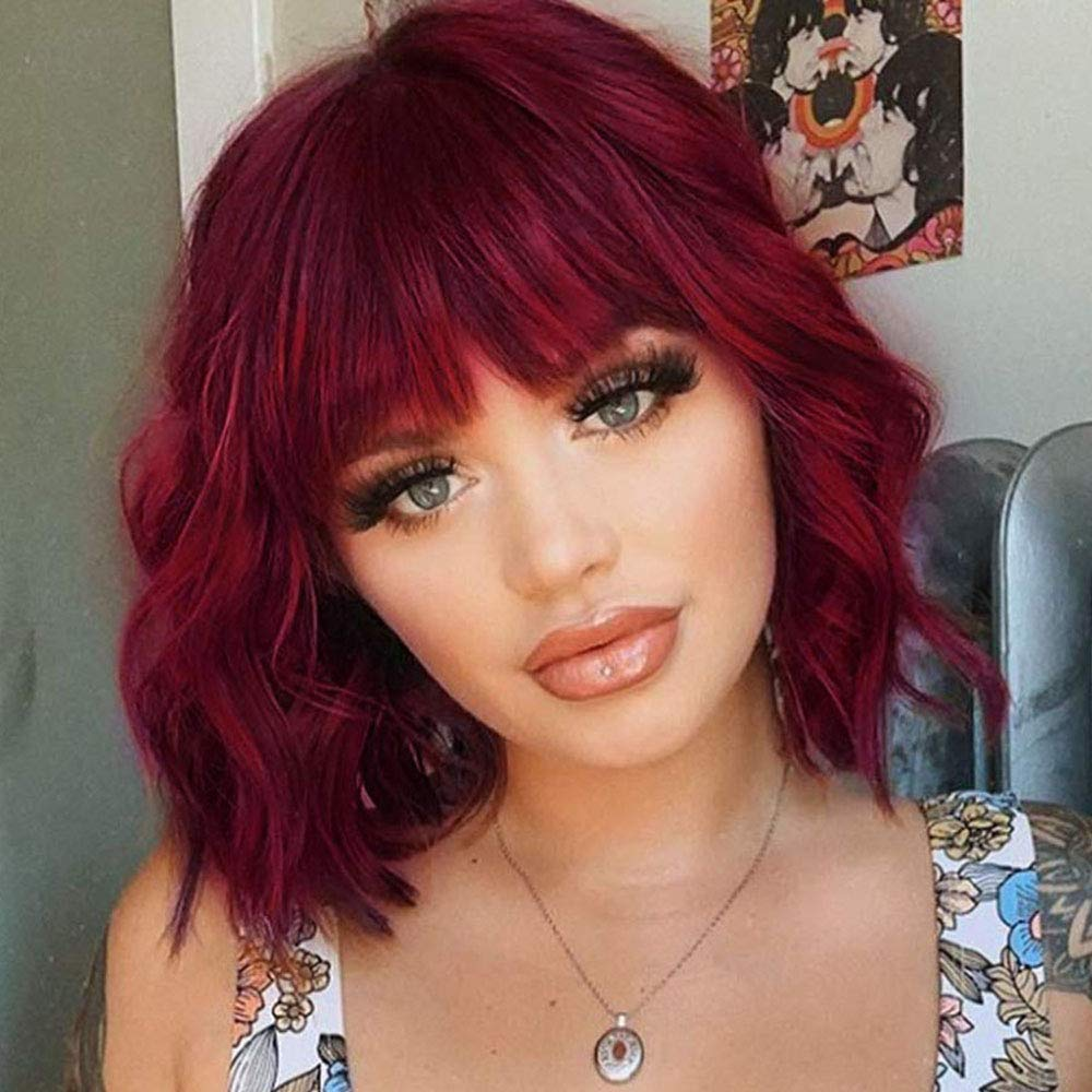Amazon Com Lnerato Short Curly Wig With Bangs Short Wavy Wig Wine Red Color Shoulder Length Wig For Women Bob Style Burgundy Wig Synthetic Heat Resistant Wigs Beauty