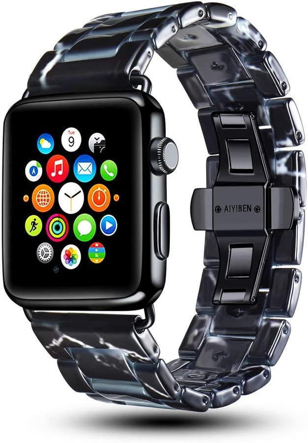 AIYIBEN Marbling Band Compatible with Apple Watch Bands 42mm 44mm,Watchband Metal Stainless Steel Buckle Strap Bracelet for iWatch Series 4 3 2 1 All Models (Black, 42 mm)