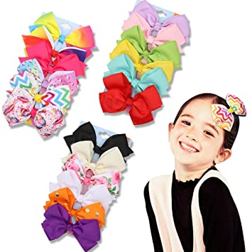8/'/' Red Girl JoJo Hair Bow Kids/' Rainbow Fabric Alligator Clip Hair Accessories
